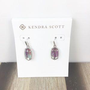 Kendra Scott Lee dichroic glass silver earrings